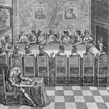 The foundation of the Académie française during the reign of Louis XIII, 1635. France, 17th century. Paris, Bibliothèque Des Arts Decoratifs (Library).
