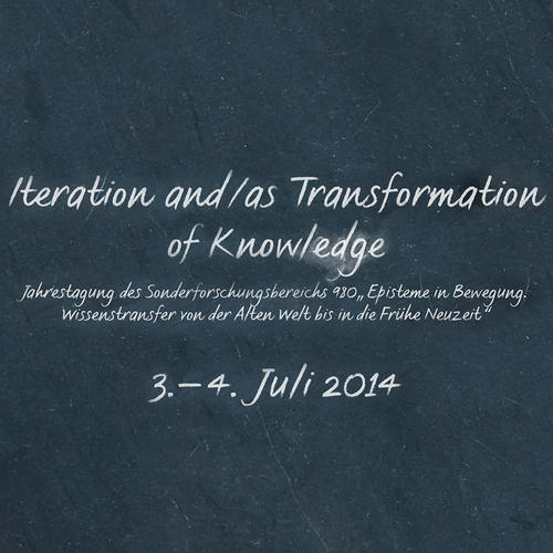 "Poster (Ausschnitt) zur 2. Jahrestagung ""Iteration and/as Transformation of Knowledge"" (2014)"